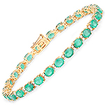 9.19 Carat Genuine Zambian Emerald and White Diamond 14K Yellow Gold Bracelet