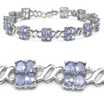 8.10 Carat Genuine Tanzanite Sterling Silver Bracelet