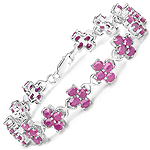 13.44 Carat Genuine Ruby .925 Sterling Silver Bracelet