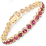 13.92 Carat Genuine Rubellite 14K Yellow Gold Bracelet