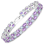 23.04 Carat Genuine Amethyst and Blue Topaz .925 Sterling Silver Bracelet
