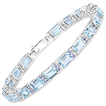 21.47 Carat Genuine Blue Topaz and Tanzanite .925 Sterling Silver Bracelet