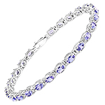 6.00 Carat Genuine Tanzanite .925 Sterling Silver Bracelet