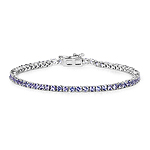 4.34 Carat Genuine Tanzanite .925 Sterling Silver Bracelet