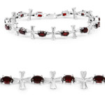6.25 Carat Genuine Garnet and White Diamond .925 Sterling Silver Bracelet