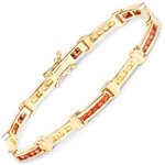 14K Yellow Gold Plated 6.48 Carat Genuine Orange Sapphire and Yellow Sapphire .925 Sterling Silver Bracelet