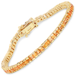 14K Yellow Gold Plated 4.14 Carat Genuine Orange Sapphire .925 Sterling Silver Bracelet