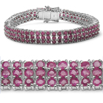 14.10 Carat Genuine Ruby Sterling Silver Bracelet