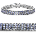 12.30 Carat Genuine Tanzanite Sterling Silver Bracelet