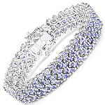 14.70 Carat Genuine Tanzanite .925 Sterling Silver Bracelet