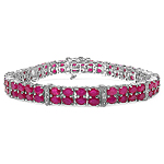16.77 Carat Genuine Glass Filled Ruby & White Topaz .925 Sterling Silver Bracelet