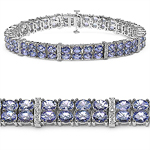 12.97 Carat Genuine Tanzanite and White Topaz .925 Sterling Silver Bracelet