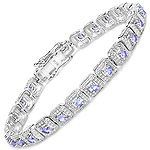 2.40 Carat Genuine Tanzanite .925 Sterling Silver Bracelet