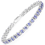 5.78 Carat Genuine Tanzanite .925 Sterling Silver Bracelet