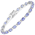 6.60 Carat Genuine Tanzanite .925 Sterling Silver Bracelet