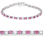 7.15 ct. t.w. Ruby and White Topaz Bracelet in Sterling Silver