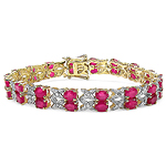 14K Yellow Gold Plated 18.32 Carat Genuine Glass Filled Ruby & White Diamond .925 Sterling Silver Bracelet
