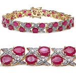 14K Yellow Gold Plated 18.32 Carat Genuine Ruby .925 Sterling Silver Bracelet