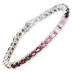 11.88 Carat Genuine Pink Tourmaline, Green Tourmaline and Brown Tourmaline .925 Sterling Silver Bracelet