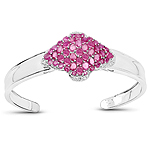 """7.38 Carat Glass Filled Ruby, Ruby and White Topaz .925 Sterling Silver Bangle"""