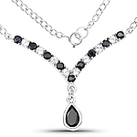 3.60 Carat Genuine Black Sapphire and White Topaz .925 Sterling Silver Necklace