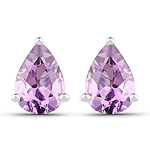 1.25 Carat Genuine Amethyst .925 Sterling Silver Earrings