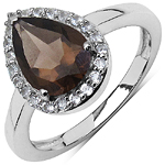 1.94 Carat Genuine Smoky Topaz & White Topaz .925 Sterling Silver Solitaire Ring