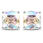 4.20 Carat Genuine White Rainbow Mystic Quartz .925 Sterling Silver Earrings