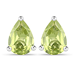 1.50 Carat Genuine Peridot .925 Sterling Silver Earrings