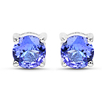 0.74 Carat Genuine Tanzanite 14K White Gold Earrings