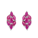 1.94 Carat Genuine Ruby .925 Sterling Silver Earrings