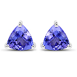 0.86 Carat Genuine Tanzanite 14K White Gold Earrings