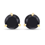 14K Yellow Gold Plated 1.49 Carat Genuine Black Diamond .925 Sterling Silver Earrings