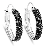 4.08 Carat Genuine Black Spinel .925 Sterling Silver Earrings