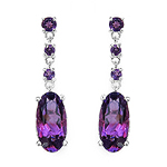 9.63 Carat Genuine Amethyst .925 Streling Silver Earrings