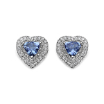 1.10 Carat Genuine Tanzanite and White Topaz .925 Sterling Silver Earrings