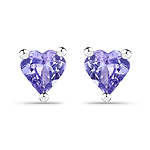 0.90 Carat Genuine Tanzanite .925 Sterling Silver Earrings