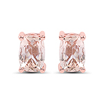 14K Rose Gold Plated 1.70 Carat Genuine Morganite .925 Sterling Silver Earrings