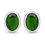 2.40 Carat Genuine Chrome Diopside .925 Streling Silver Earrings