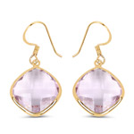 14K Yellow Gold Plated 26.50 Carat Genuine Pink Amethyst .925 Sterling Silver Earrings