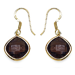 14K Yellow Gold Plated 7.92 Carat Genuine Smoky Topaz .925 Sterling Silver Earrings