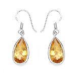 10.04 Carat Genuine Citrine .925 Streling Silver Earrings