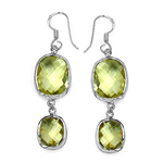 25.58 Carat Genuine Lemon Topaz .925 Sterling Silver Earrings