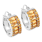 5.56 Carat Genuine Citrine .925 Sterling Silver Earrings