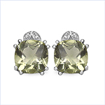 7.82 Carat Genuine Lemon Topaz & White Diamond .925 Sterling Silver Earrings