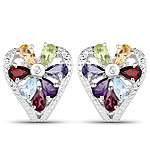 3.13 Carat Genuine Multi Stones .925 Sterling Silver Earrings