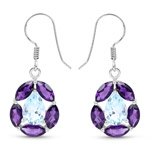 9.10 Carat Genuine Blue Topaz and Amethyst .925 Sterling Silver Earrings