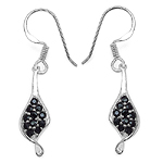 0.87 Carat Genuine Black Spinel .925 Sterling Silver Earrings