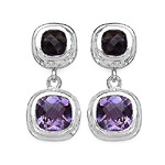 6.70 ct. t.w. Amethyst and Smoky Quartz Earrings in Sterling Silver
