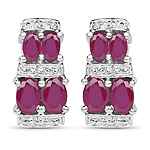 3.20 Carat Glass Filled Ruby .925 Sterling Silver Earrings